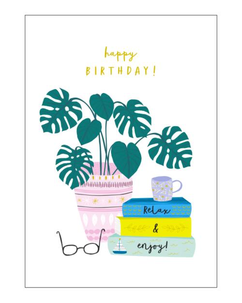 happy birthday monstera plant by jessica hogarth