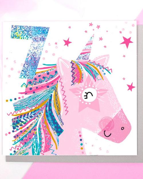 unicorn age 7 birthday card by lola design